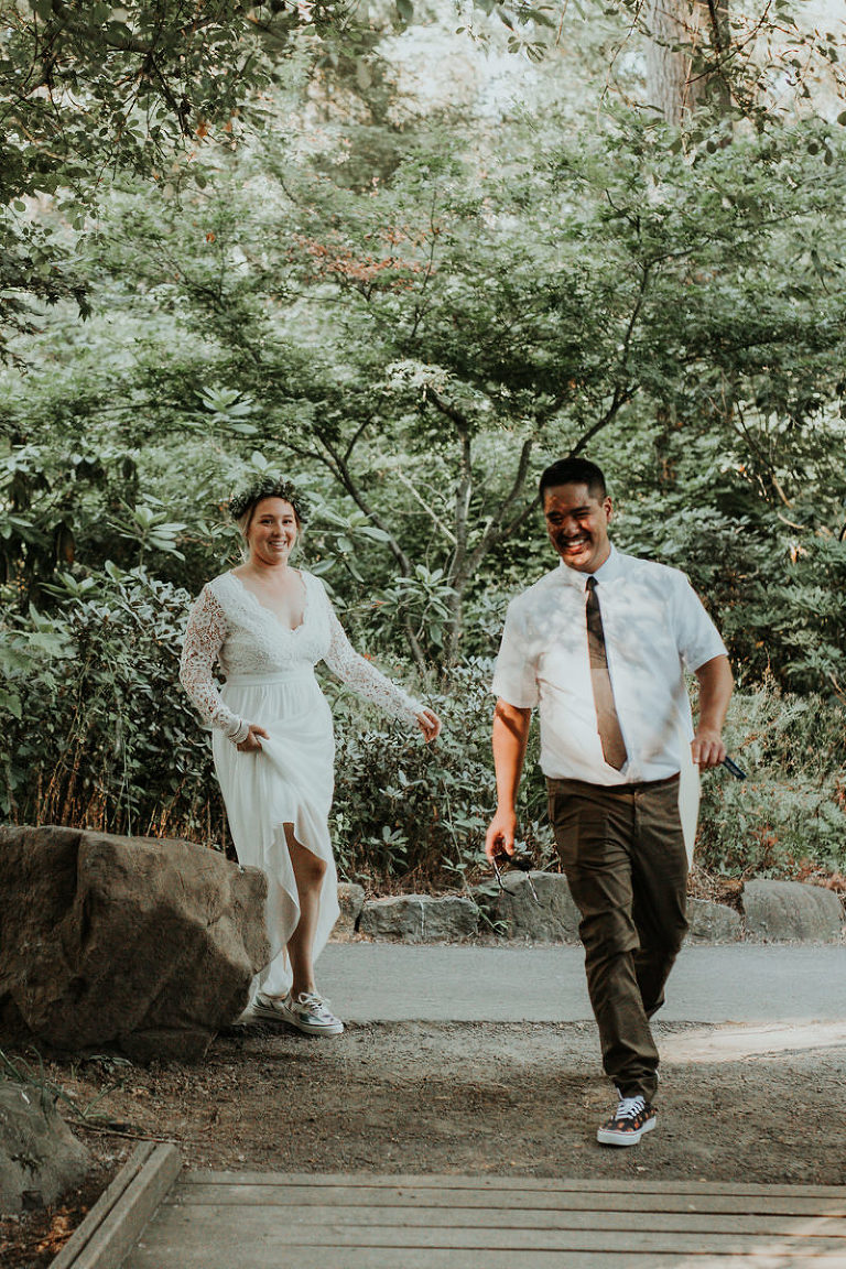 Bride and groom ready to elope in Hillsboro, OR.