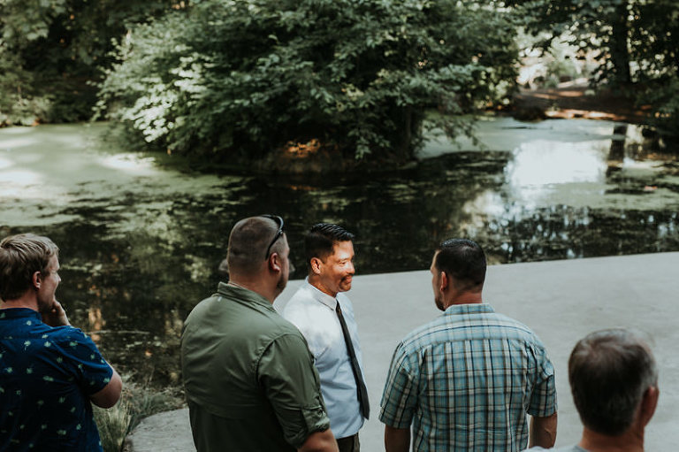 Simple elopement near a pond at Rood Bridge Park in Hillsboro, OR.